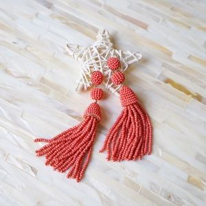 Granita Beaded Tassel Earrings - Coral